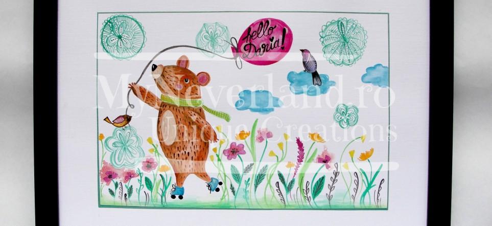 """Ilustratie camera copilului """"Skater Bear"""""""