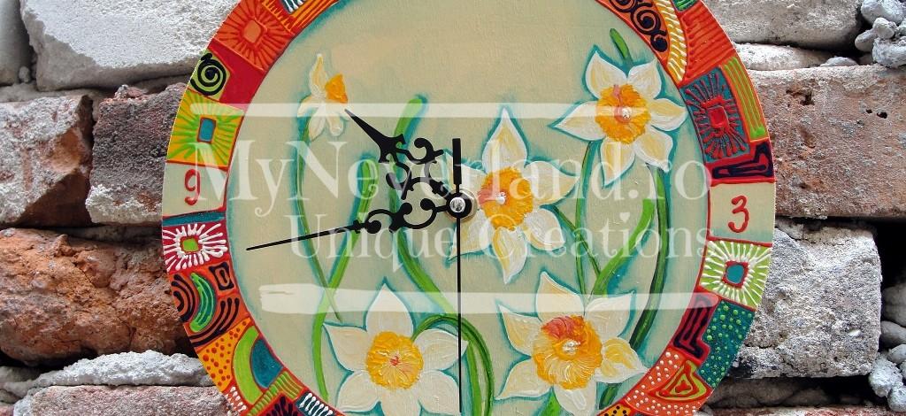 """Ceas de perete """"Decorated daffodils"""""""