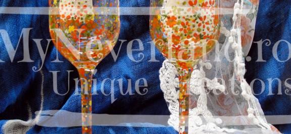 """Set pahare nunta """"Orange flowers"""""""