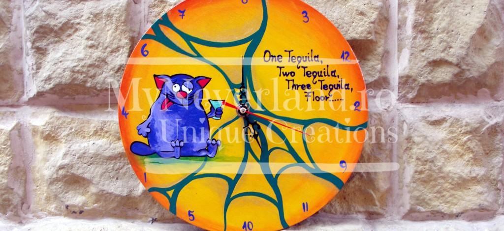 """Ceas de perete """"Purple cat"""""""