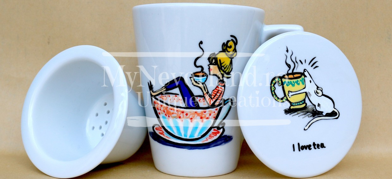 "Cana ceai cu infuzor ""I Love Tea"""