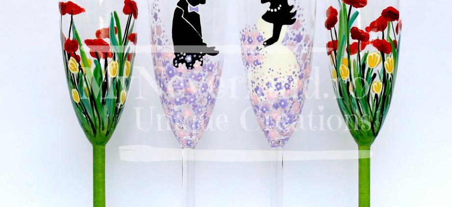 "Set pahare nunta ""Pastel flowers"""