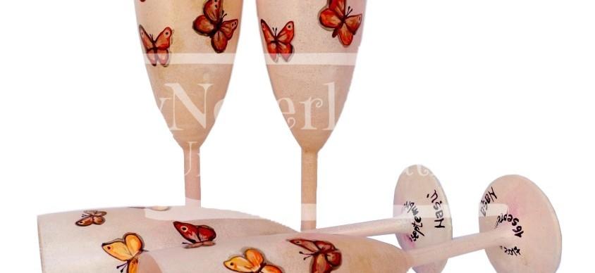 """Set pahare nunta """"Autumn Butterflies"""""""