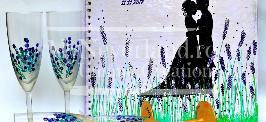 "Set nunta pahare&wedding book ""Sweet Lavender"""
