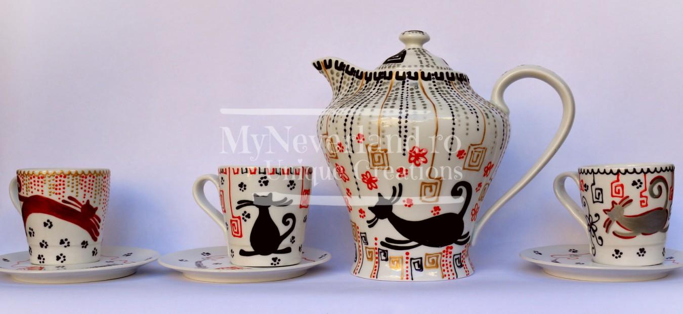 "Set pentru ceai ""Cats, cats, cats"""