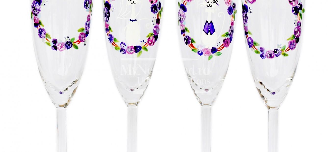 """Set pahare nunta """"Violet Cats"""""""