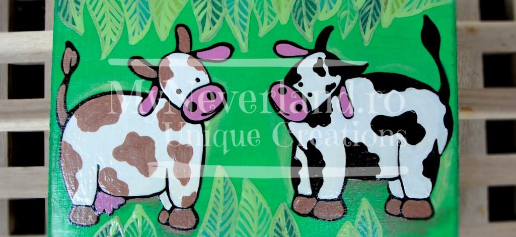 """Cutie de lemn pictata """"Cows"""""""