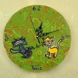 "Ceas de perete ""Cats fighting over math"""