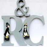 "Litere initiale decor prezidiu ""Lovely Penguins"""