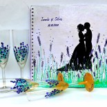 "Set nunta pahare&wedding book ""Sweet Lavender"""