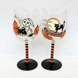 "Pahare vin ""Black Cat & Cute Ghost"""