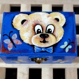 "Cutie de lemn pictata ""Fluffy Bear"""