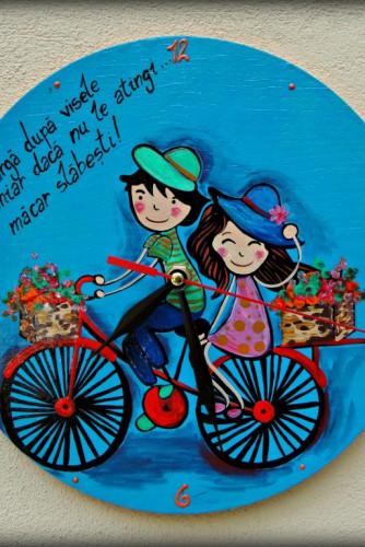 "Ceas de perete ""The bicycle of love"""