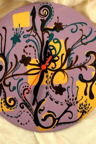 """Ceas de perete """"Design with Flowers"""""""