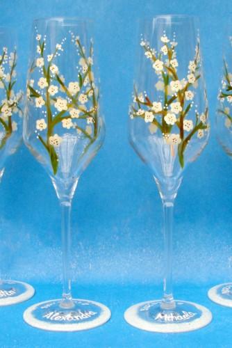 "Set pahare nunta ""White Flowers"""