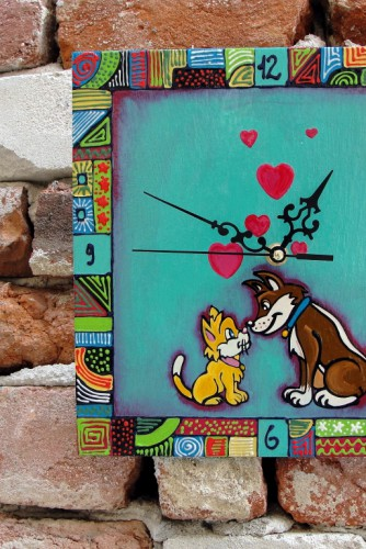 "Ceas de perete ""Cat and dog"""