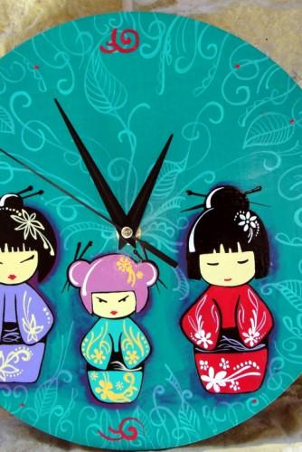 "Ceas de perete ""Japanese dolls"""