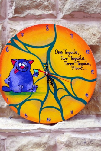 "Ceas de perete ""Purple cat"""