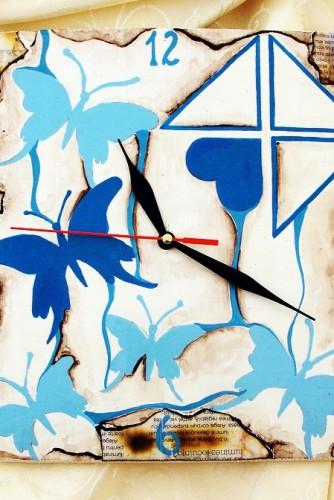 "Ceas de perete ""Blue butterflies"""