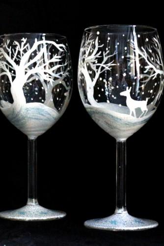 "Set pahare vin ""Winter Wonderland"""