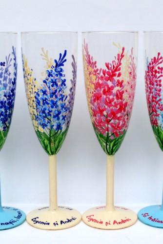 """Set pahare nunta """"Lilac Flowers"""""""
