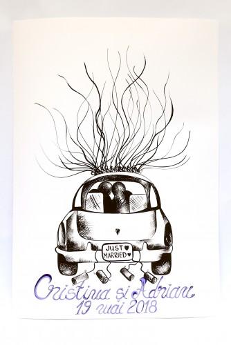 """Ilustratie pentru nunta """"Car"""""""