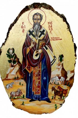 """Icoana """"Sfantul Ierarh Modest ocrotitorul animalelor"""""""
