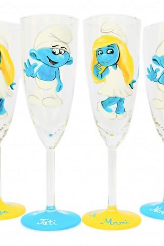 "Pahare nunta/botez pictate ""Smurfs"""