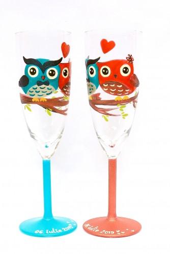 """Set pahare nunta """"Owls"""""""