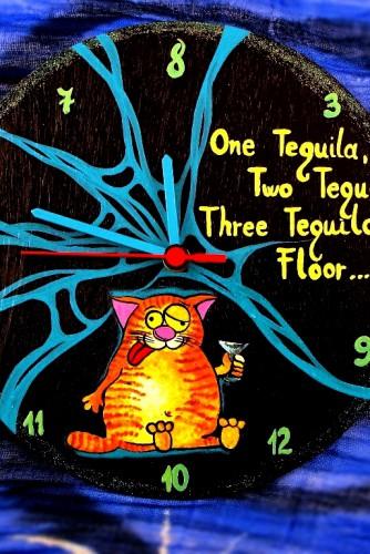 "Ceas de perete ""Drunk cat"""