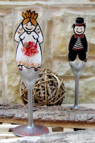 "Set pahare nunta ""Funny Bride&Groom"""