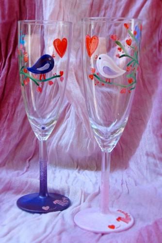 """Set pahare nunta """"Birds"""""""